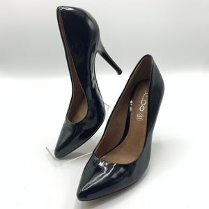 Aldo Black Patent Leather Heels Size 7.5 38